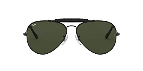 Ray-Ban Junior Herren Outdoorsman Craft Brillengestelle, Schwarz (Leather Black/Green), 58