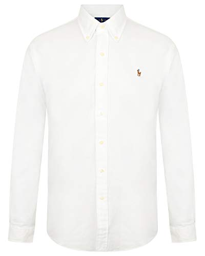 Ralph Lauren Polo Heren Slim Fit Stretch Oxford Shirt lange mouw Wit/Blauw