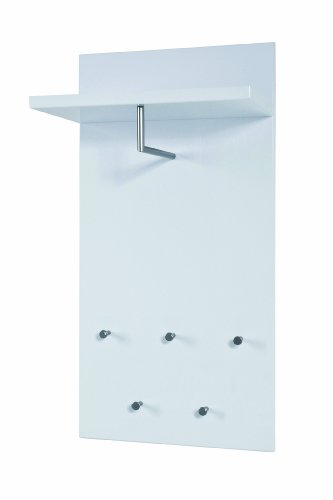 HAKU Möbel 42358 Wandgarderobe 49 x 31 x 100 cm, weiß / edelstahloptik