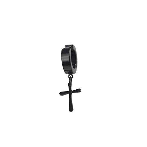 Diseño Cruzado Ganchos para la Oreja Pendientes de Clip sin Piercing Pendientes Falsos Negro Delgado