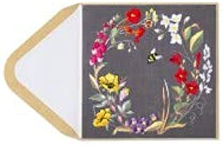 PAPYRUS BY NIQUEA.D Bee Inside Flower Wreath Embroidered Friendship Card