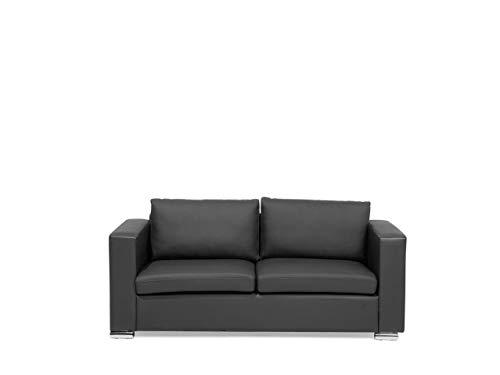 Klassisches Sofa Echtleder 3er Sitzer schwarz Helsinki