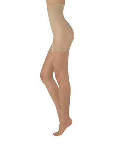MEDIAS FINAS REDUCTORAS DE TALLE ALTO | PANTY CON COMPRESION MEDIA | NATURAL, NEGRO | 20 DEN | S, M, L, XL | CALCETERÍA ITALIANA | (XL, NATURAL)