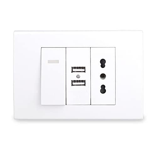 Yuanjing-Switch Outlet de Enchufe de Pared + 2 Puerto de Cargador USB para móvil + Interruptor de luz de Encendido/Apagado (Rated Voltage : 220-250V, Type : CS 3G)