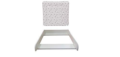 Wickelaufsatz weiß mit Auflage Sterne grau für Kommode MALM IKEA