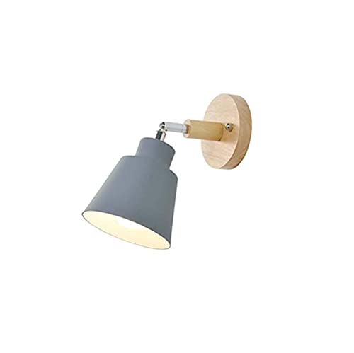 YANSW Lámpara de pared Aplique de pared Aplique de pared, Apliques modernos de 1arrón E27 Aplique de madera para mesita de noche para cocina, dormitorio, sala de estar,gris