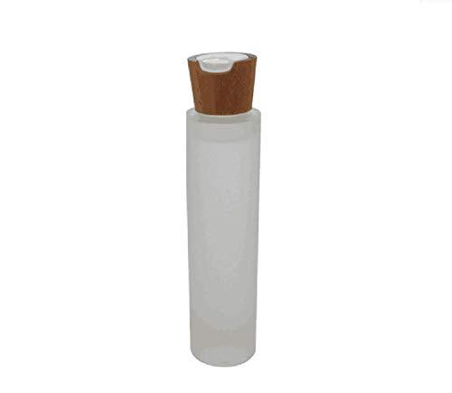 1 PCS 100 ml / 3.4 oz vide bouteille en verre rechargeable pot fiole support de conteneur de voyage portable avec bouchon en bambou presse top cap pour lotion essentielle huile tonique essence