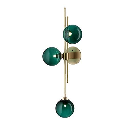 Bola Luz de pared, Moderno Apliques de pared Cortina de cristal del globo de blanco Espejo baño led for Dormitorio Pasillo Lámpara de pared 3*G9 (Color : Green)
