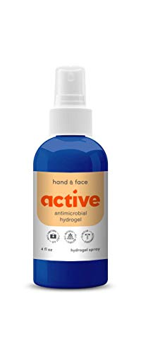 Active Antimicrobial Hand and Face HOCl Hydrogel Spray - All-Natural, Non-Toxic, No Sting, Medical-Grade Cleansing Spray - Safe Around Mouth, Nose, Ears and Eyes (4 oz Bottle)