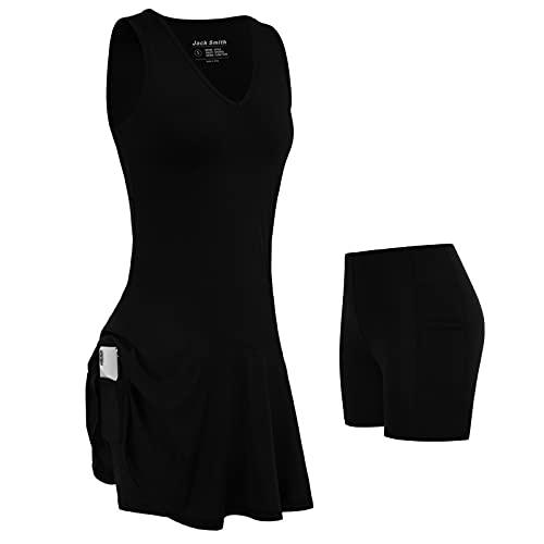 JACK SMITHWomen's Golf Tennis Dress 2 in 1 Sleeveless Moisture Wicking Athletic Sports Dresses with Shorts Pockets S-XXL