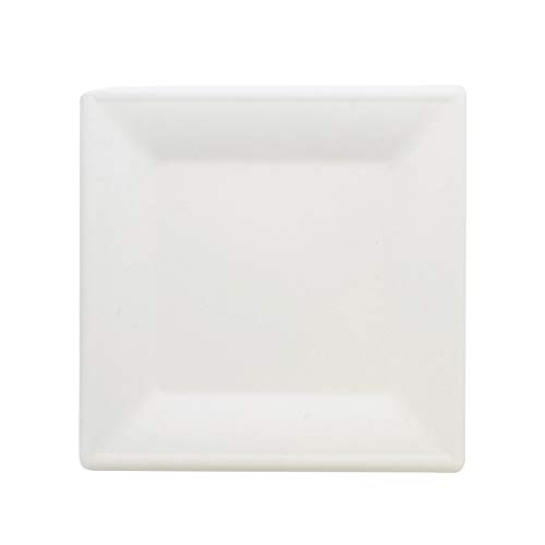 Spec101 Natural Bagasse 10 Inch Square Plate 100-Pack in White - Compostable Plates