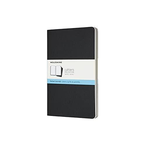 Moleskine Cahier Notizhefte (Punktraster, Large/A5, Kartoneinband) 3er Set schwarz