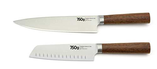 750 g lot de 2 couteaux wood - 17/20 cm - pleine soie - lames allemandes