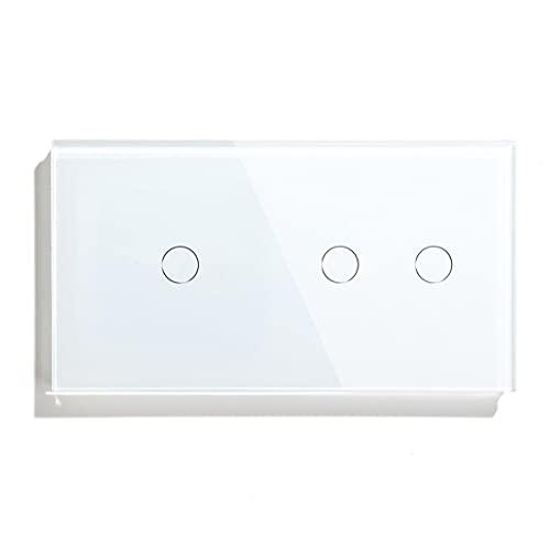 NGHSDO Interruptor Tactil 1 Gang 2 Sensor Touch Sensor Interruptor 1 Vía 2 Vía Interruptor de Luz Blanco Blanco Clase de Oro Clase de Panel Interruptor Impermeable Interruptor Inteligente