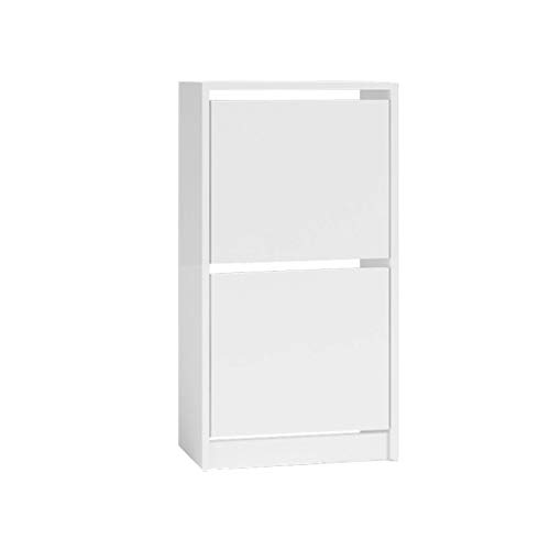 TBA - Armario zapatero moderno y cómodo, sin asas, dos compartimentos/estanterías, color blanco
