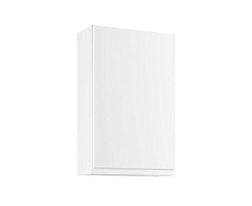 lifestyle4living Badezimmerschrank in Weiß, Hochglanz, schmal | Hängeschrank mit 1 Tür und 2 Einlegeböden