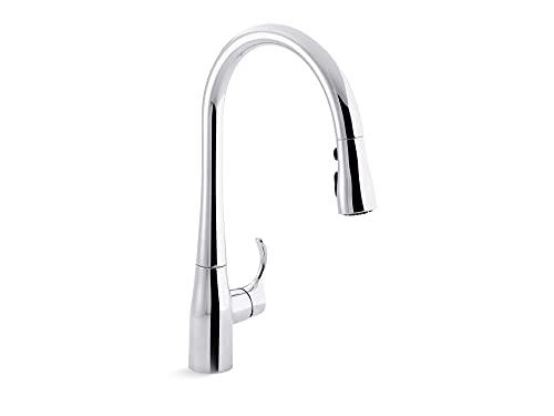 KOHLER Simplice Pull Down Kitchen Faucet, 3-Spray Faucet, Kitchen Sink Faucet with Pull Down Sprayer, Polished Chrome, K-596-CP