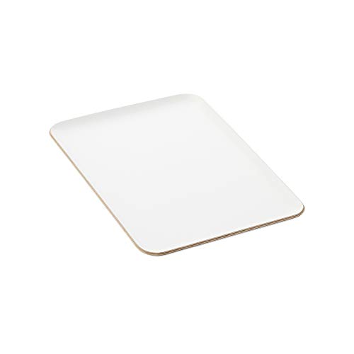 Une 'domo Pv-liv-1196 Point-Virgule rectangulaire Plateau de service Blanc 39 x 27 cm, bois, marron