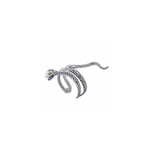 CRYPIN Joyería de Anillo de Serpiente Retro Europea y Americana de Plata esterlina s925, tamaño de Apertura Ajustable, Pulsera de Animales