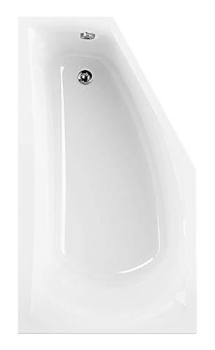 Calmwaters® Raumsparende Eckbadewanne 160x90 cm, Acrylwanne Modern Small, platzsparende Badewanne in rechter Ausführung, Maße 160 x 90 cm, Eck-Badewanne in Weiß - 02SL3325
