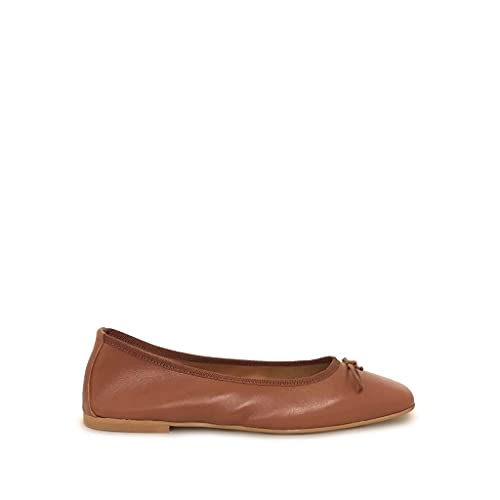 Shoe gar Ballerine a Punta Quadrata Cuoio con Fiocchetto Vera Pelle Made in Italy