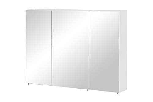 Schildmeyer Basic Spiegelschrank, Melaminharzbeschichtete Spanplatte, Weiß, 100 cm