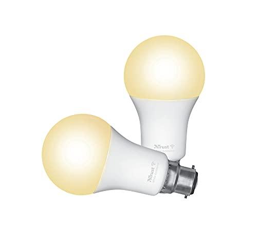Trust Smart Home Smart WiFi LED lampadina bianca ambiente B22, lampadina LED compatibile con Alexa, confezione da 2
