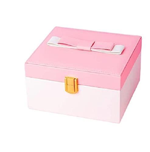 Kudiro Caja de joyería de doble capa Caja de almacenamiento Pendientes Pendientes Collar Joyero Caja de regalo para señoras (Rosa+Blanco)