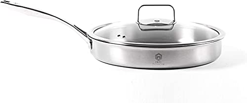 titanium skillets Fully Clad Tri-Ply Pure Titanium Fry Pan with Matching Glass Lid (30cm x 5cm/12 inch x 2.0 inch)