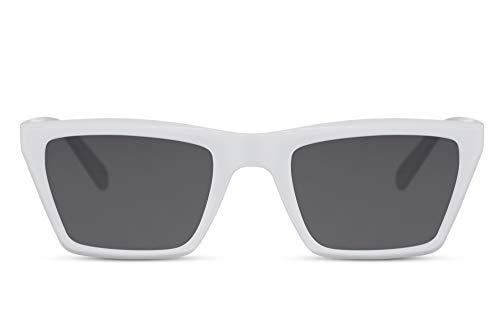 Cheapass Occhiali da Sole Grandi a Stile di Gatto di Moda Montatura Bianca da Designer con Lenti a Specchio Rosa UV400 protetti da Donna