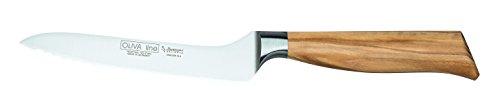 Burgvogel Solingen Brotmesser 15 cm geschmiedet Olivenholz, Oliva Line, Wellenschliff, rostfrei, hell, scharf