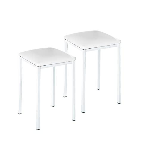 ASTIMESA TACUBL Dos Taburetes de Cocina Modelo Cuadrado Polipiel Blanco Estructura de Metal Blanco, Altura de Asiento: 45 cms