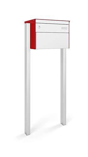 Stebler Briefkasten s: box 13 Breitformat, aus Aluminium, Regendach, Post-Norm BxHxT 444x330x340 mm, Standard Zylinder, Handgerfertigt mit Seitlichem Stützenpaar, Feuerrot/Weissaluminium