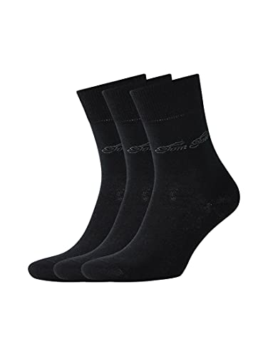 TOM TAILOR Damen Socks Dreierpack Basic Socken black,35-38,S610,2999