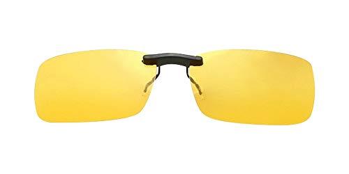 BOZEVON Sonnenbrillen-Clip auf Flip Up Polarisierte Linse - Unisex Rechteck Klipp auf Klapp-Sonnenbrille für Brillen im Freien und Fahren, Gelb