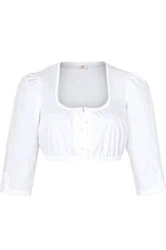 h.moser Salzburg Damen Dirndl-Bluse mit 3/4 Arm und rundem Ausschnitt Weiss, 0101-WEIß, 38