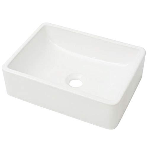 vidaXL Lavabo Cuadrado Moderno Cerámica Blanco Lavamanos Aseo Cuarto de Baño
