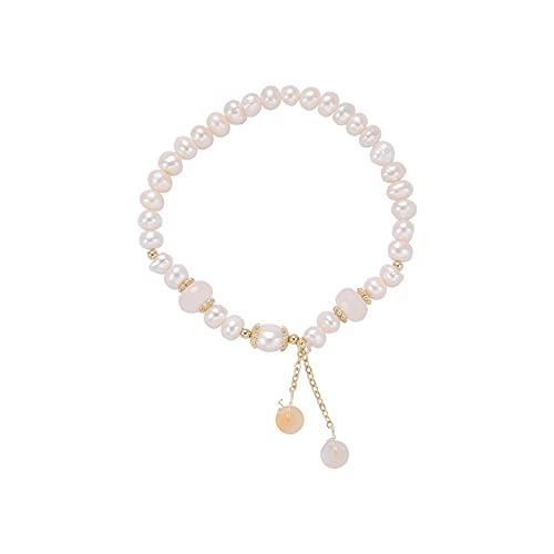 Pulsera de moda diseño de nicho Sen-line hebilla de seguridad pulsera colgante pulsera de perlas de cristal rosa