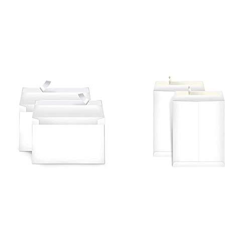 AmazonBasics A9 Blank Invitation Envelopes with Peel & Seal, White, 100-Pack (5-3/4 x 8-3/4 inches) - AMZA22 & Catalog Mailing Envelopes, Peel & Seal, 9x12 Inch, White, 100-Pack - AMZP15
