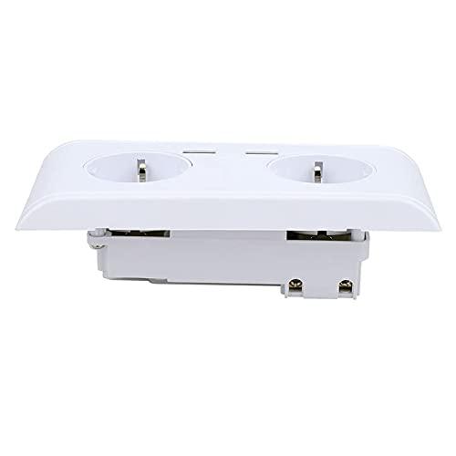 Milkvetch Toma de Corriente Tomacorriente MultifuncióN con ConexióN USB Dual Enchufe Europeo de 250 V Toma de Cargador de Alta Velocidad