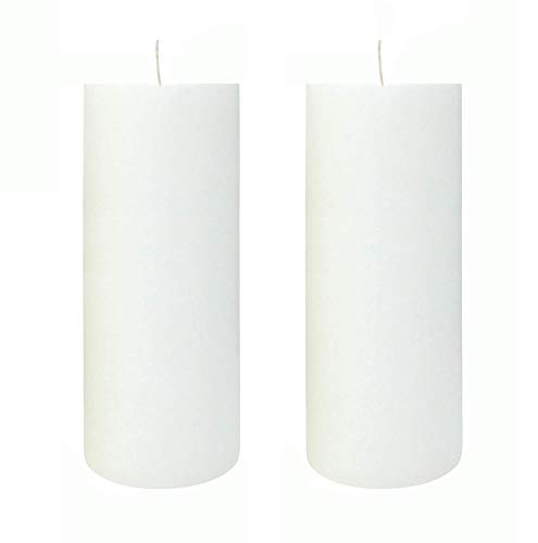 KuTi Kai Solid Colour Pillar Candle,Unscented Smokeless Cotton Wick - Long Burn Time, Suitable for Weddings, Church, Home Decoration, Restaurants, Spa 2pcs/set (White, 5x10cm)