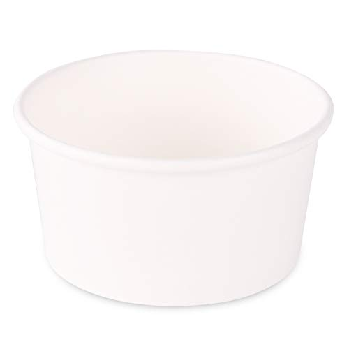 Paper Ice Cream Cups - 100-Count - 5 oz Disposable Dessert Bowls for Hot or Cold Food, 5-Ounce Party Supplies Treat Cups for Sundae, Frozen Yogurt, Soup, White