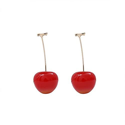 YONGYAN Long Earrings for Women Creative Fashion Cherries Resin Earrings Red Cherry All-Match Earrings Stud Earrings (Color : A)