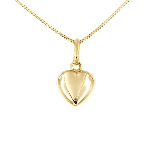 Lucchetta - Cadena con corazón en relieve abombado de oro amarillo de 14 quilates, longitud de 45 cm, collar de oro para mujer - Fabricado en Italia, XD1235-VE38