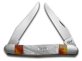 CASE XX Sun Dance and White Pearl Corelon Muskrat Stainless Pocket Knife Knives