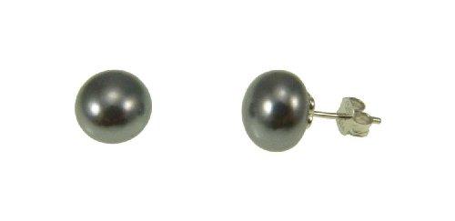 Isbijoux-Pendientes para mujer de plata fina 925% 2F1000 Rodhié juguete con perla de agua dulce Grise-() 10 mm, diseño de mujer