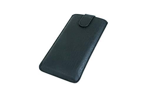 andyhandyshop Handyetui Schutztasche für Gigaset GS3 GS4 Smartphone Slim Hülle Etui Hülle Wallet mit Rausziehband, Magnetverschluss, schwarz