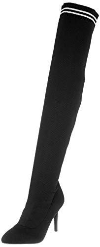Buffalo Damen Lemon Drop Knit 01 Overknees, Schwarz (Black 38 00), 39 EU