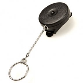 """KEY-BAK Original Chain Retractable Key Holder with 24"""" Stainless Steel Chain, Black Front, Removable Rotating Clip, 8 oz. Retraction, Split Ring - Made in USA"""