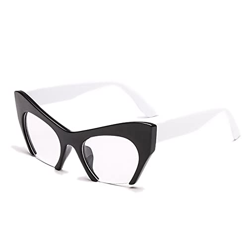 HAIGAFEW Marco De Gafas De Lente Transparente De Ojo De Gato para Mujer Proteger Los Ojos-Pierna Negra Blanca